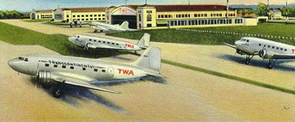 vintage postcard Columbus airport TWA, Tina Carter, TinaCarterEBA.com, relocation, Columbus Ohio, plane, John Glenn International Airport